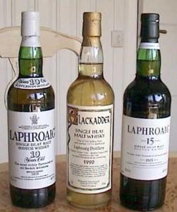Laphroaig 10Y (571), Laphroaig 1990 (80474) och Laphroaig 15Y (70473)